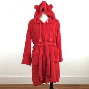 Victorias Secret Plush Hooded Bath Robe w Ears Red